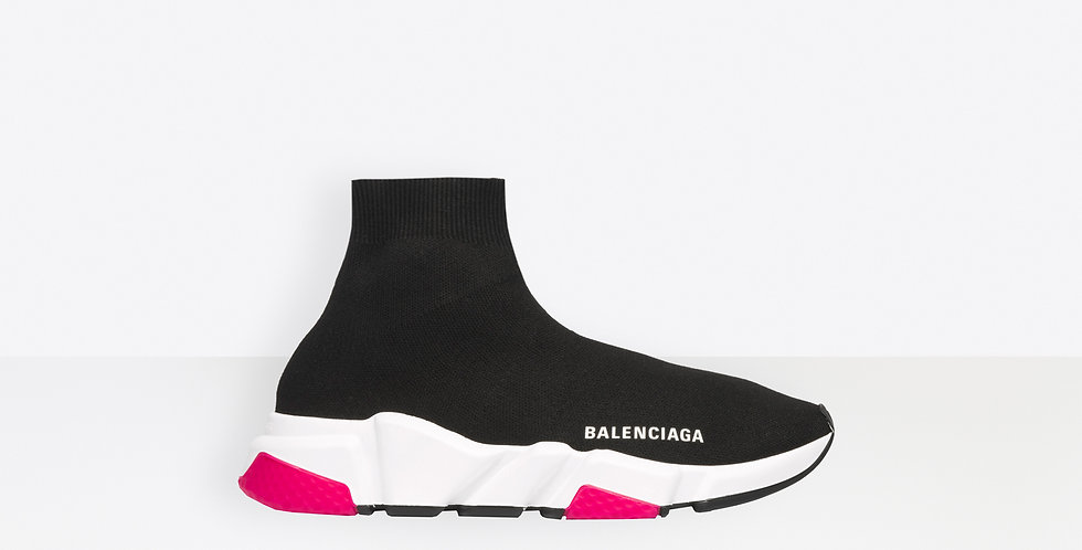 Pink and black sole speed stretch-knit high-top sneakers
