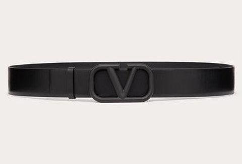Black VS belt in glossy leather 40mm