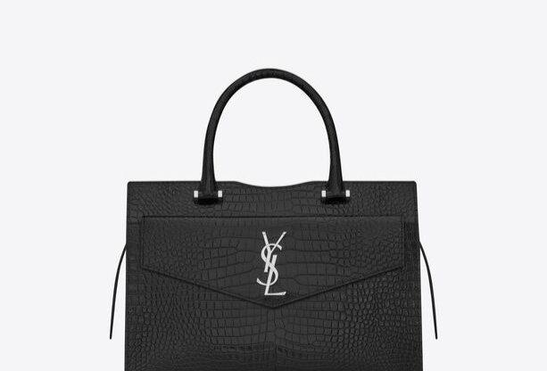 Black SU medium tote in shiny crocodile leather