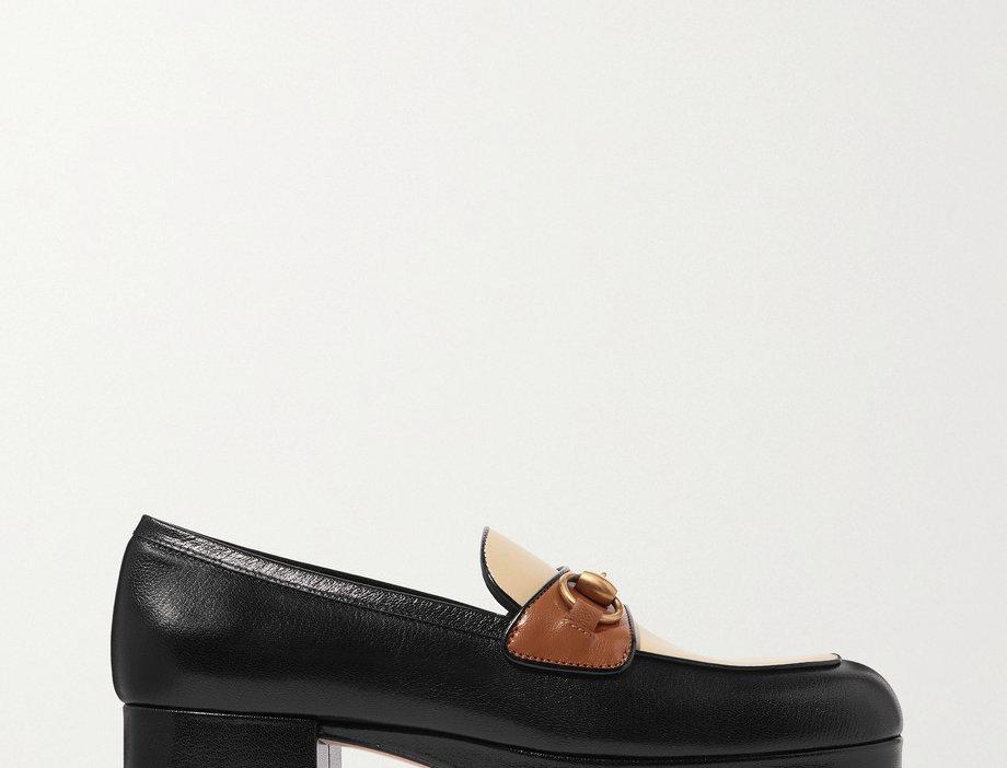 GH-detailed leather platform loafers