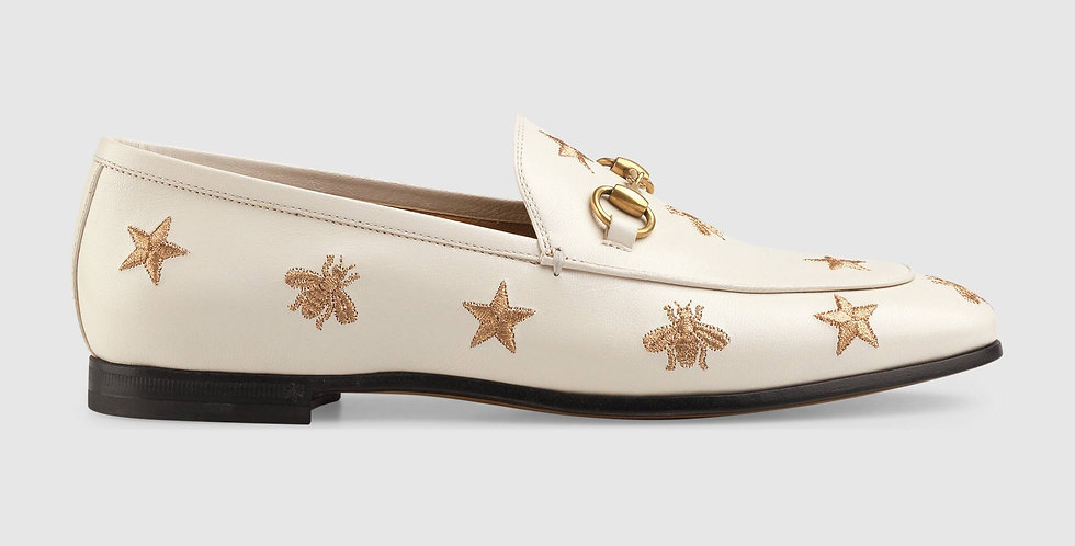 White GJ embroidered leather loafer
