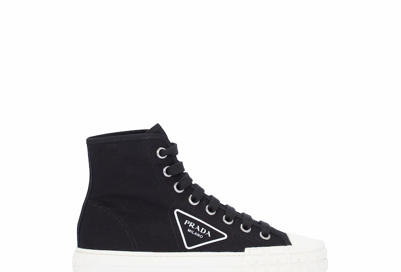Black and white cotton canvas high-top sneakers