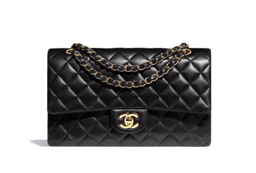 Large black classic C handbag with gold-tone metal
