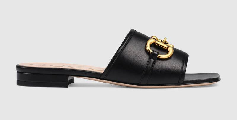 Black leather slide sandal