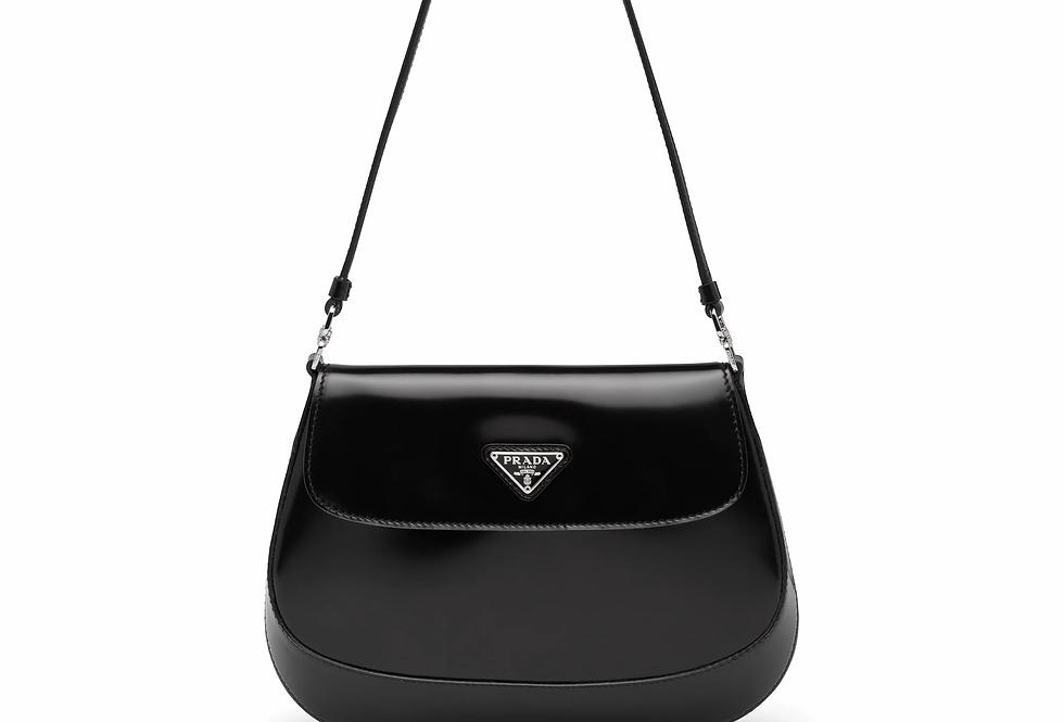 Black PC brushed leather shoulder bag with flap