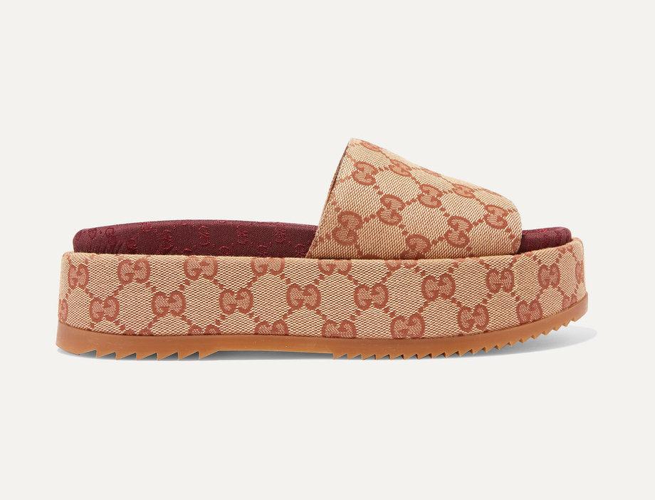 GA Coated-Canvas Platform Sandals