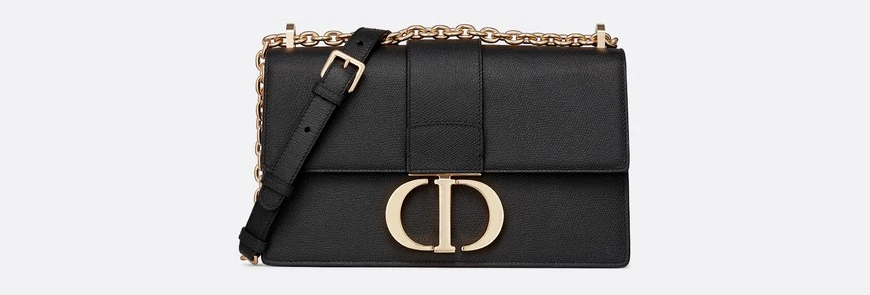 Black 30M stamped grain calfskin flap chain bag