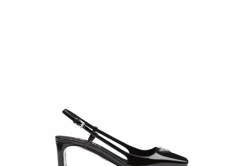 Black patent leather slingbacks