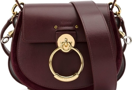 Dark purple tess small leather and suede shoulder bag