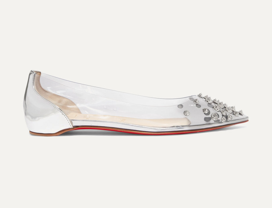 CLC spiked PVC and mirrored-leather point-toe flats