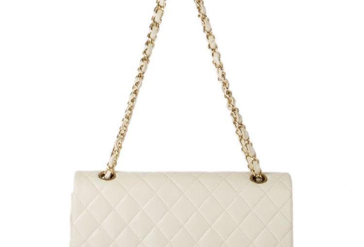 White classic C handbag with gold-tone metal
