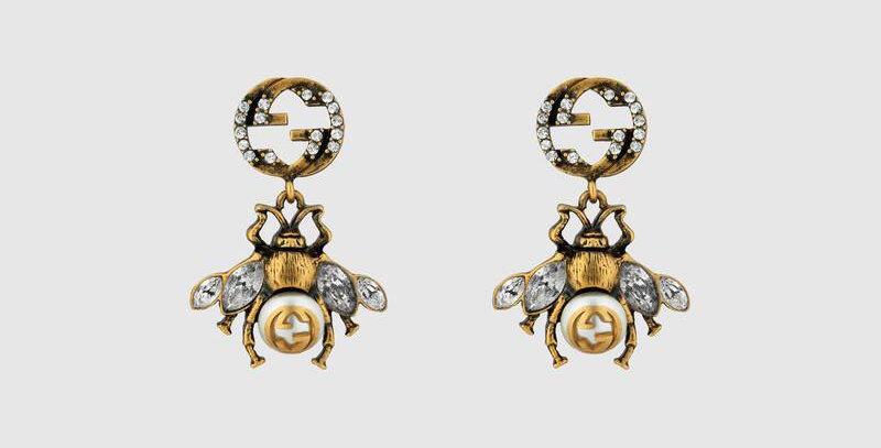 Bee earrings with logo