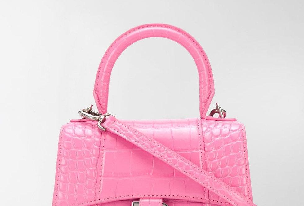 Pink shiny crocodile HB xs top handle bag