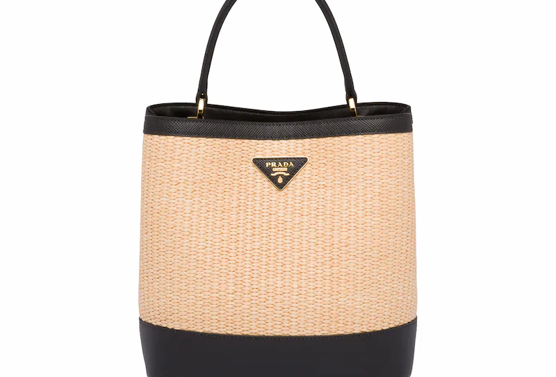 Black panier medium straw bag