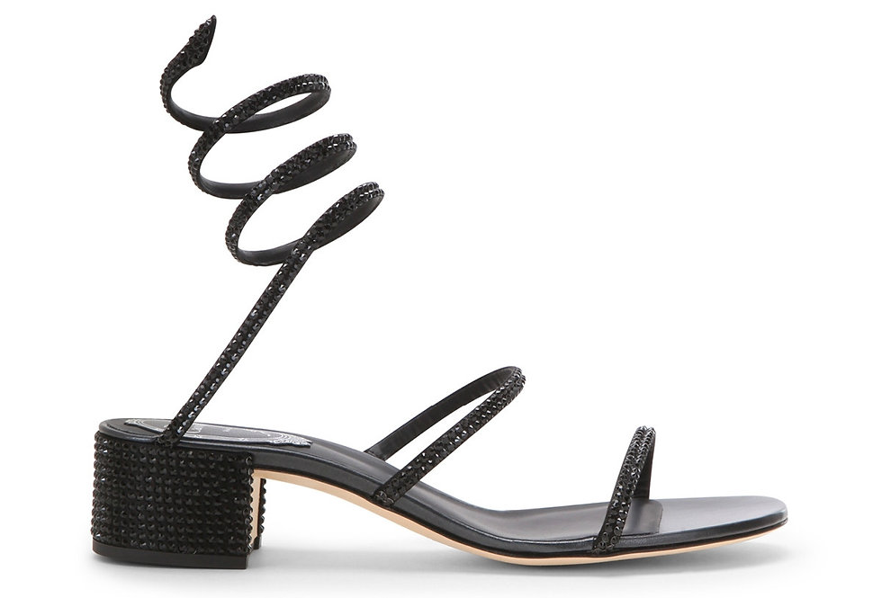 Black crystal-embellished satin sandals