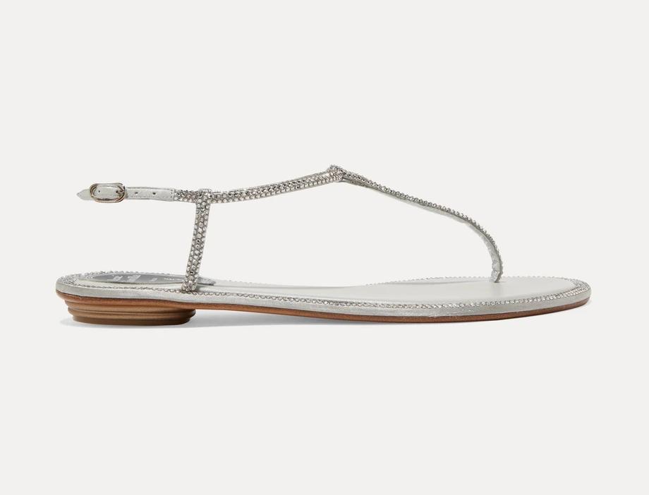 Silver RCD crystal-embellished satin sandals
