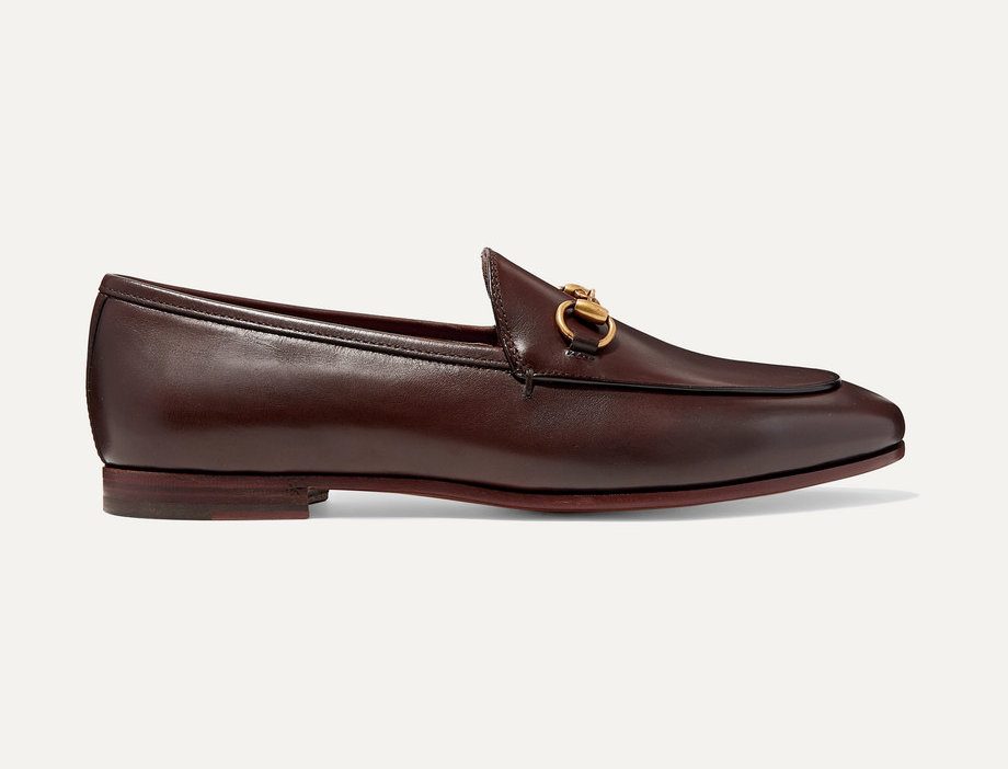 Dark-brown GJ leather collapsible-heel loafers