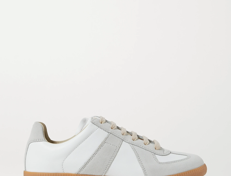 Off-white MM leather and suede sneakers