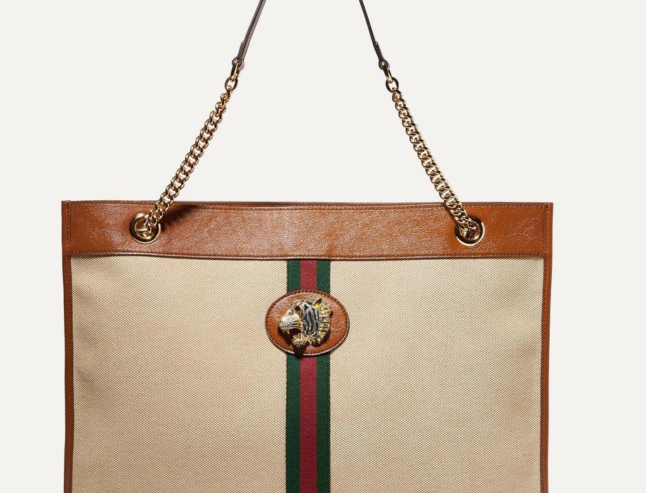 GR large embellished leather-trimmed canvas tote