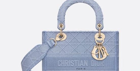 Denim blue medium LD embroidered cannage bag