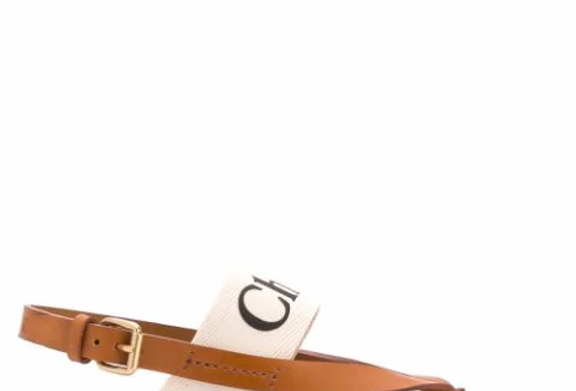 Nude CW logo print leather sandals