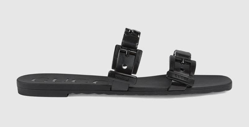 Black rubber slide sandal