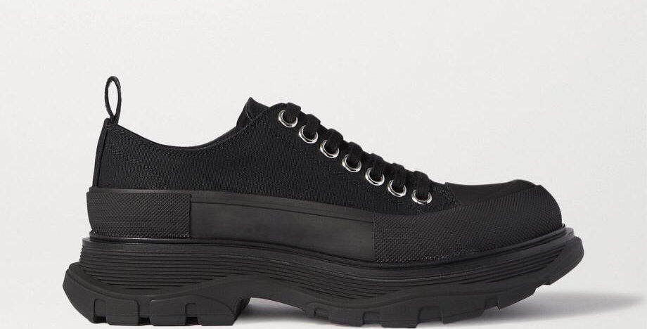 Black canvas exaggerated-sole sneakers