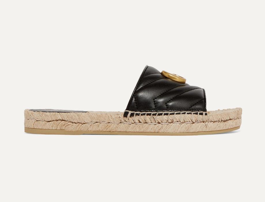 GL-embellished quilted leather espadrille slides