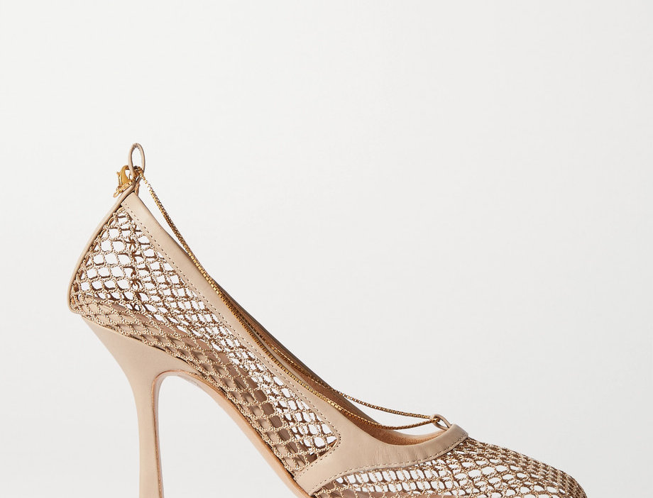 Nude chain-embellished pumps