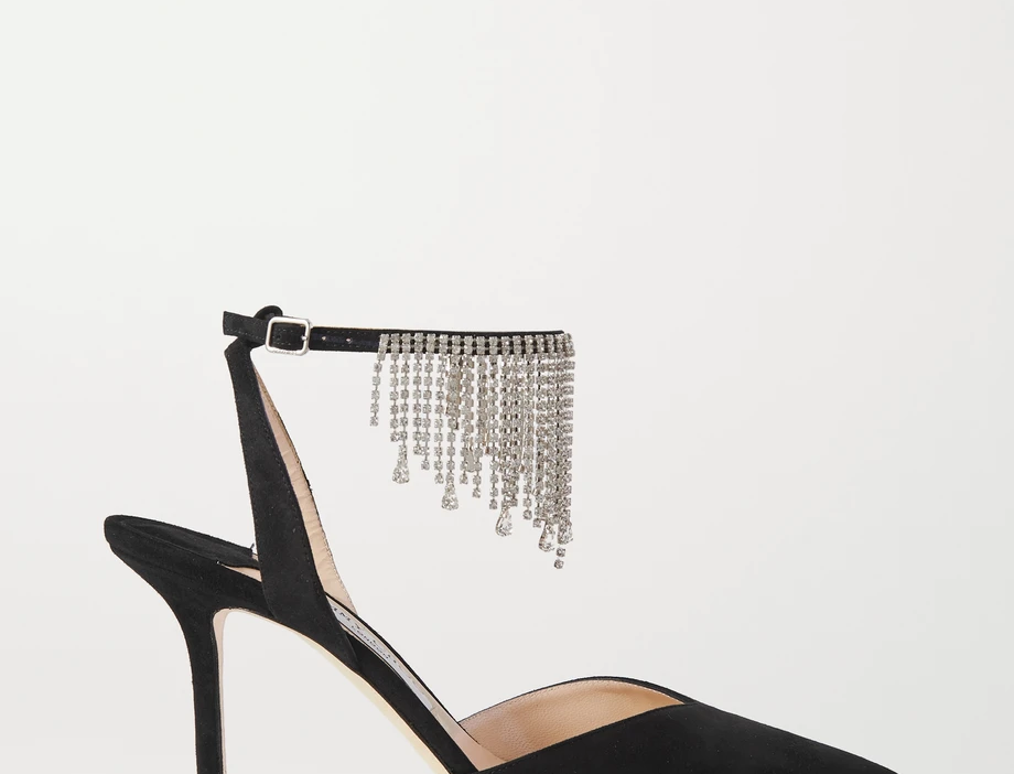 Bertie 85 crystal-embellished suede pumps