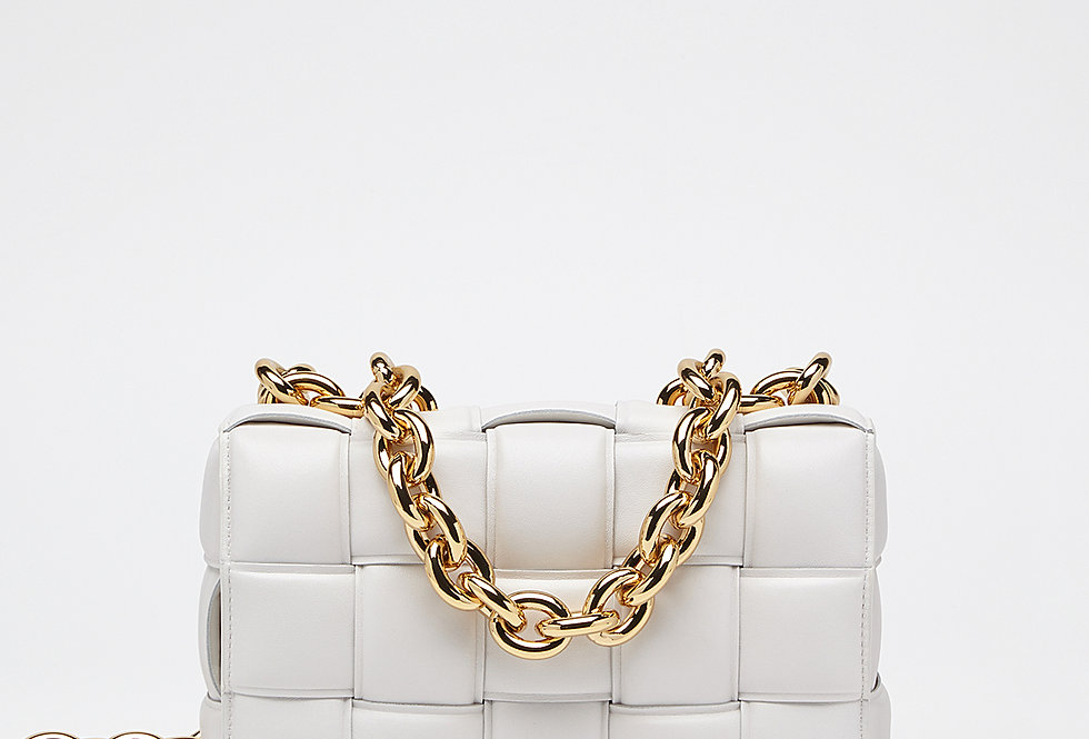 White chain cross-body bag