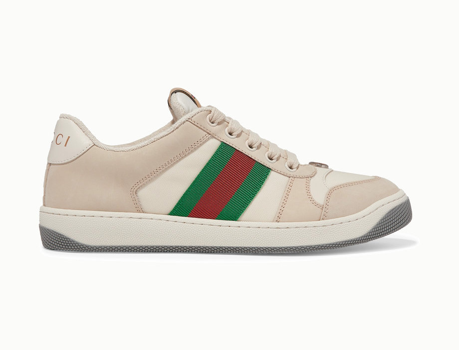 GS canvas-trimmed leather sneakers