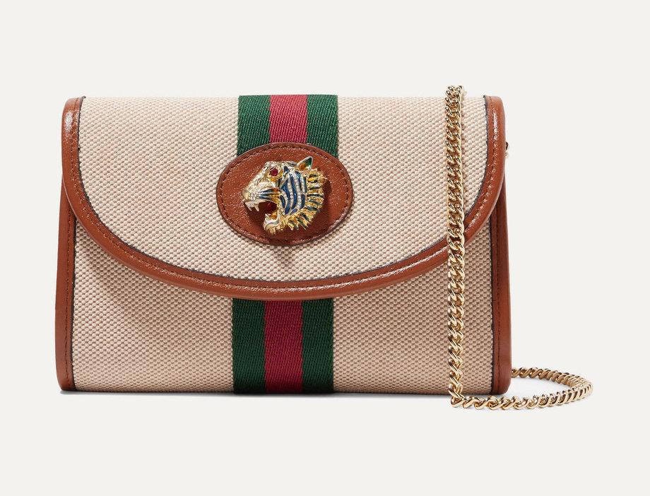 GR mini embellished leather-trimmed canvas shoulder bag