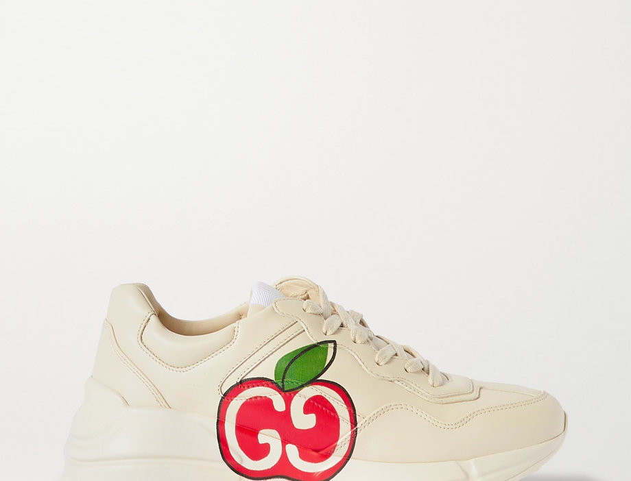 GR logo-print leather sneakers