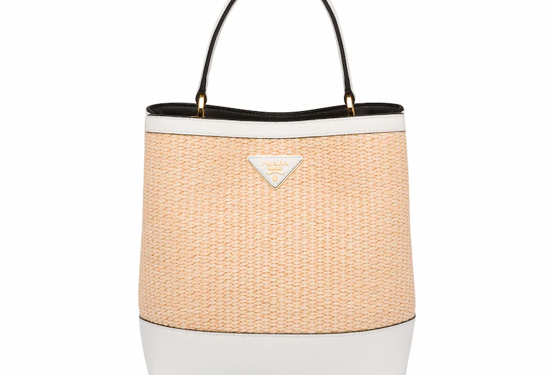 Tan/White panier medium straw bag