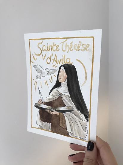 Aquarelle originale sainte Thérèse d'Avila