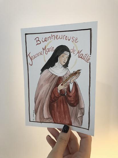 Aquarelle originale sainte Jeanne-Marie de Maillé