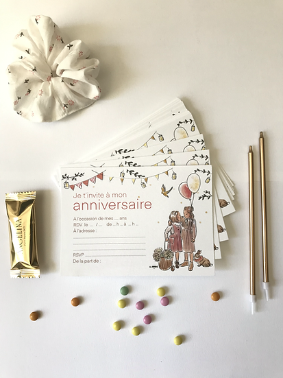 Lot 5 cartons invitation anniversaire