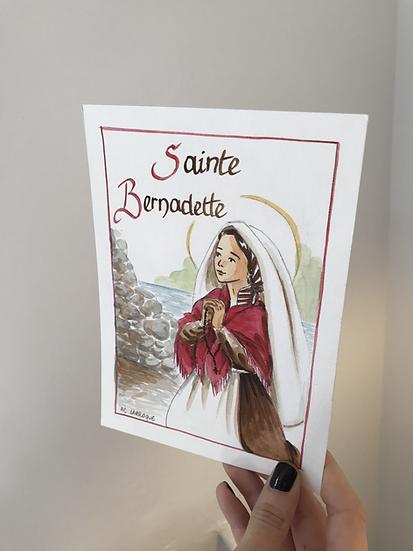 Aquarelle originale sainte Bernadette