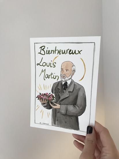"Aquarelle originale ""Bienheureux"" Louis Martin"