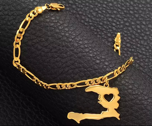 Haiti map bracelet