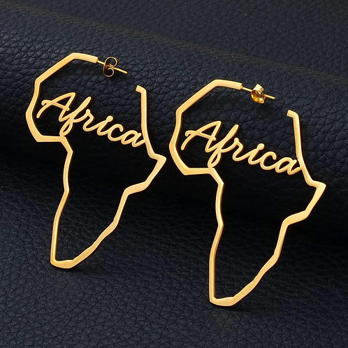 Big Africa inscribed earring