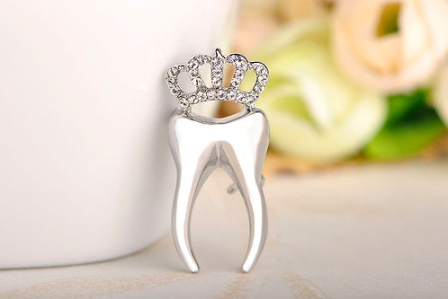 Silver (Dentist) tooth crown Brooches