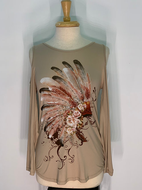 Cream Cold Shoulder Feather Top