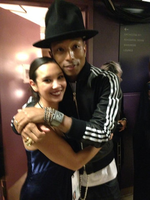 Kelci Hahn and Pharrell Williams before Academy Awards Performance