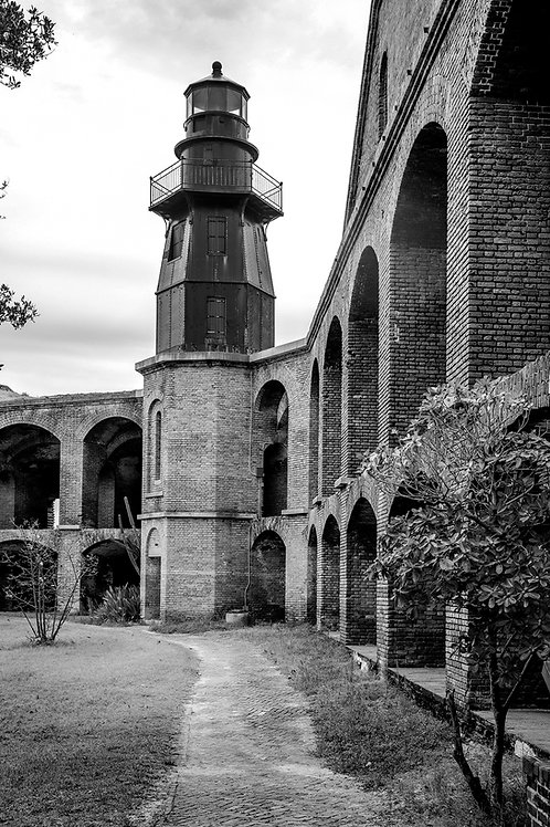 The Light House at Fort Jefferson ( Garden Key Dry Tortuga's) Black and White