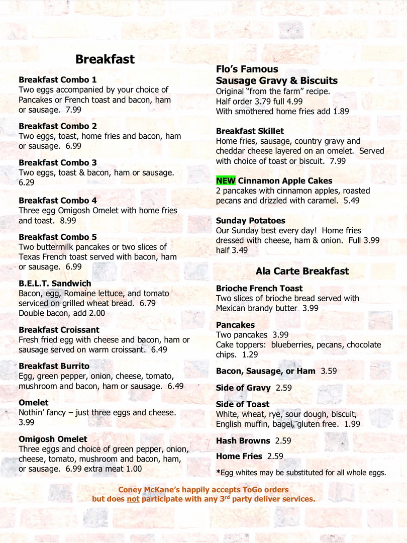 Coney McKane's Breakfast Menu