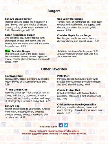 Coney McKane's Burger Menu