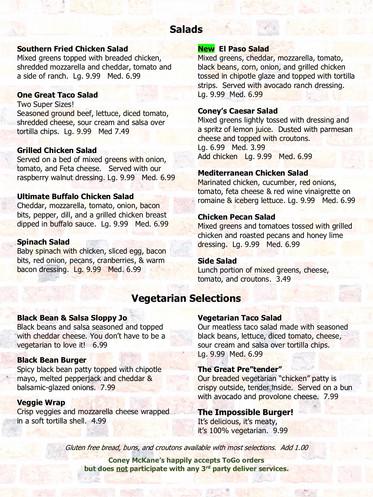 Coney McKane's Salads and Vegetarian Men