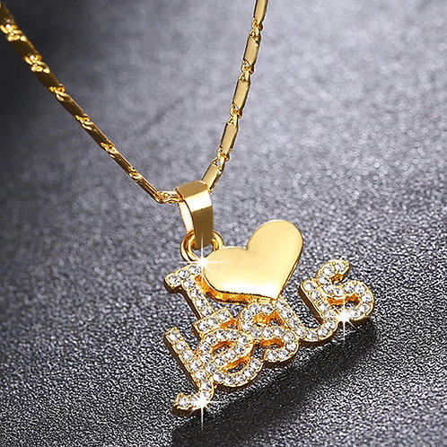 "Women's ""I ❤️ Jesus"" Pendant Necklace"